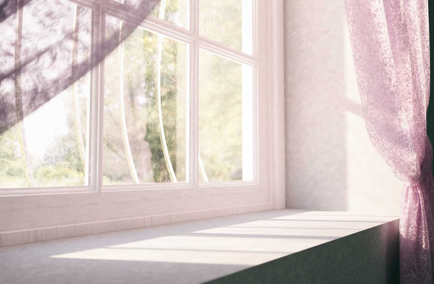 a window and window sill with pinky shades